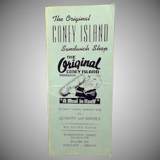 Vintage Original Coney Island Sandwich Shop of Portland, Oregon Restaurant Menu
