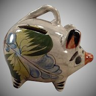 Vintage Richly Colored Mexican Pottery Miniature Piggy Bank