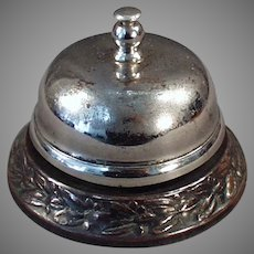 Vintage Counter Bell with Decorative Base for Hotel Desk or Old General Store Counter