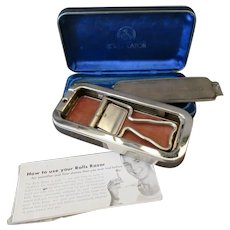Vintage Rolls Razor and Blade Sharpener in Sheffield Steel Velvet Lined Case
