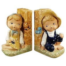 Vintage Enesco Pottery Bookends - 1960's Country Boy and Girl Figures