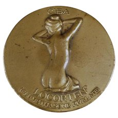 Vintage Ciba Locorten Advertising with Nude Woman - Bronze Paperweight Medallion