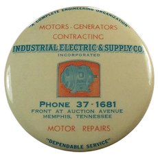 Vintage Celluloid Advertising Mirror Paperweight - Industrial Electric Supply Co.