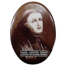 Vintage Celluloid Mirror with Padre Junipero Serra - Old California Mission Memorabilia