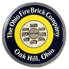 Vintage Celluloid Advertising Paperweight - Ohio Fire Brick Company