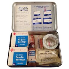 Vintage Johnson & Johnson First Aid Travelkit Tin with Medical Contents