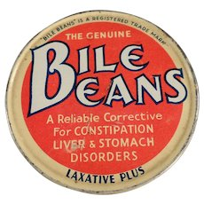 Vintage Biles Beans Laxative Twists Tin - Old Medical Advertising