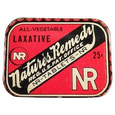 Vintage Medical Advertising Tin - Nature's Remedy Laxative Tin
