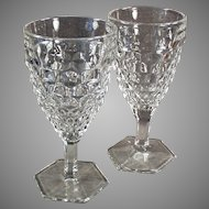 Pair of Vintage Fostoria American Pattern Stemmed Water or Wine Goblets - 10 Available