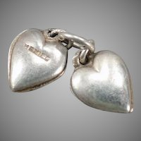 Vintage Silver Tiny Puffy Hearts Charm - Made in Mexico