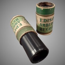 Vintage Edison Wax Cylinder Phonograph Records - Two Amberols with Vocalist Collins