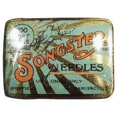 Vintage Songster Phonograph Needle Tin - Tin Only, No Steel Needles