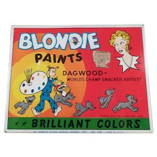Vintage Blondie & Dagwood Comic Characters Water Color Paint Set Tin