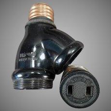 Vintage Benjamin Two Bulb Light Socket Converter with Arrow Plug Adapter