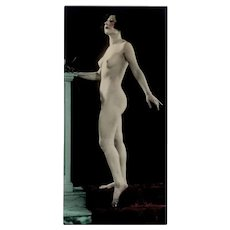 Vintage 1920's Photograph - Posed Nude Woman - Hand Tinted Photo
