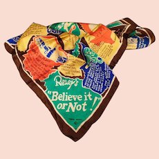 Vintage Ripley's Museum Souvenir - Silk Scarf with Ripley's Believe it or Not Trivia