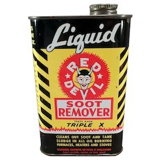 Vintage Red Devil Soot Remover Tin with Nice Advertising Graphics