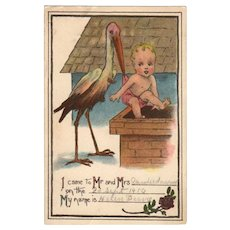 Vintage Postcard Birth Announcement  - 1916 with Stork and Baby