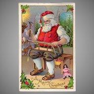 Vintage 1913 Postcard - Christmas - Beautiful Santa Claus in His Toy Workshop