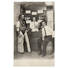 Vintage 1913 Postcard - Cowboys in a Western Saloon - Photograph