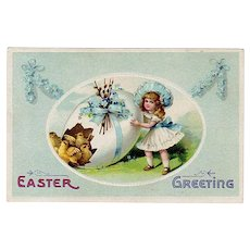 Vintage Easter Postcard with a Little Girl, Decorated Easter Egg & Baby Chicks