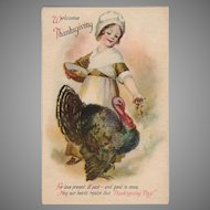 Vintage Thanksgiving Postcard with Young Pilgrim Girl and Beautiful Turkey