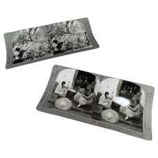 Two Vintage Stereoscopic Stereo View Cards - Panama Hats & Coffee Picking