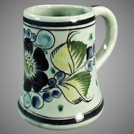 Vintage Mexican Pottery Large Mug - Tonala Mexico - Blue & Green Floral Design