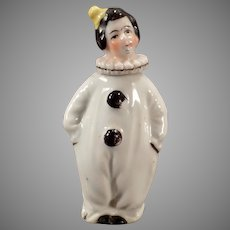 Vintage Porcelain Clown Perfume Bottle - Pierrot in Black and White - Miniature Perfume