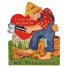 Vintage Mechanical Valentine with a Boy Chopping Wood