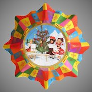 Fluted Vintage Paper Christmas Bowl with Plastic/Celluloid Dolls in Ethnic Costumes