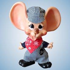 """Vintage Ernie Engineer Mouse Bank Doll – 10 ½"""" - Original including Hat"""