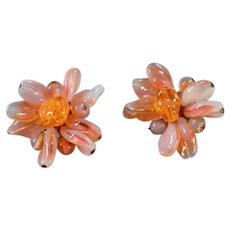 Vintage Costume Jewelry Clip-On Earrings - Milky Opalescent Orange and Pink - West Germany