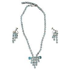 Vintage Art Deco Style Rhinestone Necklace & Earring Suite - Vibrant Turquoise, Aquamarine Color