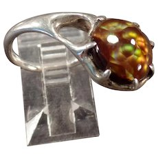 Artisan Made Unusual Side Mount Ring - Beautiful Fire Agate - Tiny Pinkie Ring