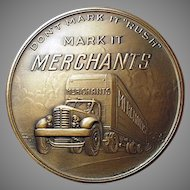 Vintage Bronze Paperweight Medallion Advertising Merchants Motor Freight Trucking