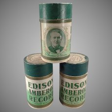 Vintage Wax Edison Amberol Cylinder Phonograph Records – 3 Records with Original Boxes