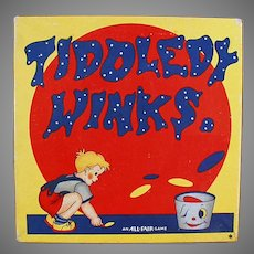 Colorful Vintage Tiddledy Winks Game with Original Toy Box