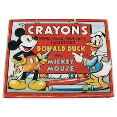 Vintage Mickey Mouse and Donald Duck Crayon Tin Box - 1950's