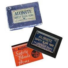 Vintage Aloxite #45 Safety Razor Blade Hone with Original Box