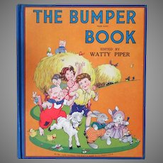 Child's Vintage 1946 Hardbound Storybook - The Bumper Book with Beautiful Illustrations