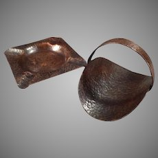 Vintage Arts & Crafts Hammered Copper Smoking Set - Ashtray with Matching Cigarette Holder