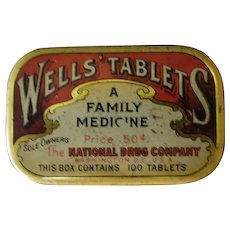 Vintage National Drug Wells' Laxative Tablets Tin - Old Medical Advertising
