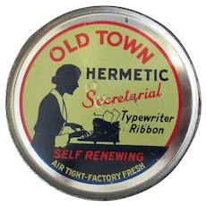 Vintage Keywind Old Town Hermetic Typewriter Ribbon Tin with Secretary