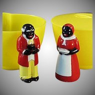Vintage Aunt Jemima and Uncle Mose F & F Plastic Cream and Sugar Set