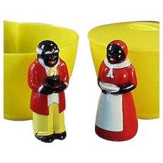 Vintage Aunt Jemima and Uncle Mose F & F Plastic Cream and Sugar Set