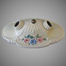 Vintage Two Bulb Flush Mount Porcelain Ceiling Light Fixture – 1930's Beautiful Condition