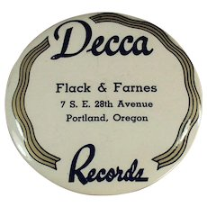 Vintage Celluloid Advertising Record Duster - Decca Records