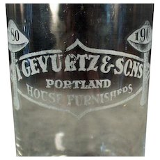 Vintage Portland Oregon Advertising Glass - Gevurtz and Sons Furniture Store