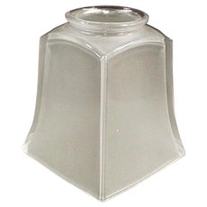 Vintage Glass Light Fixture Shade - Single Frosted Shade with Deco Style